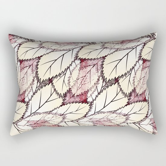 Delicate openwork leaves on a white , light brown background. Rectangular Pillow