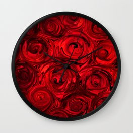 Red Apple Roses Abstract Wall Clock