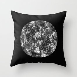Silver Moon - Abstract, textured silver foil lunar design Throw Pillow