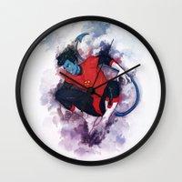 nightcrawler Wall Clocks featuring Jumper by ribkaDory