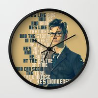 david tennant Wall Clocks featuring He's Wonderful - David Tennant Doctor Who  by KanaHyde