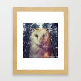 Merge owl and forest reflection Framed Art Print