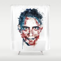 obama Shower Curtains featuring Obama by I AM DIMITRI
