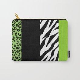 Animal Print, Zebra Stripes, Leopard Spots - Green Carry-All Pouch