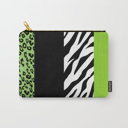 Animal Print, Zebra Stripes, Leopard Spots - Green Carry-All Pouch