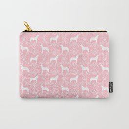 Husky floral dog pattern simple minimal basic dog silhouette huskies dog breed pink and white Carry-All Pouch