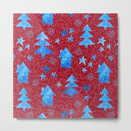 Vibrant red blue teal winter falling snow trees stars and houses pattern Metal Print