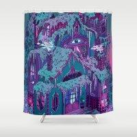 house Shower Curtains featuring December House by Valeriya Volkova