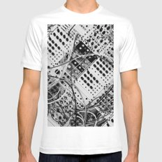 analog synthesizer  - diagonal black and white illustration White MEDIUM Mens Fitted Tee