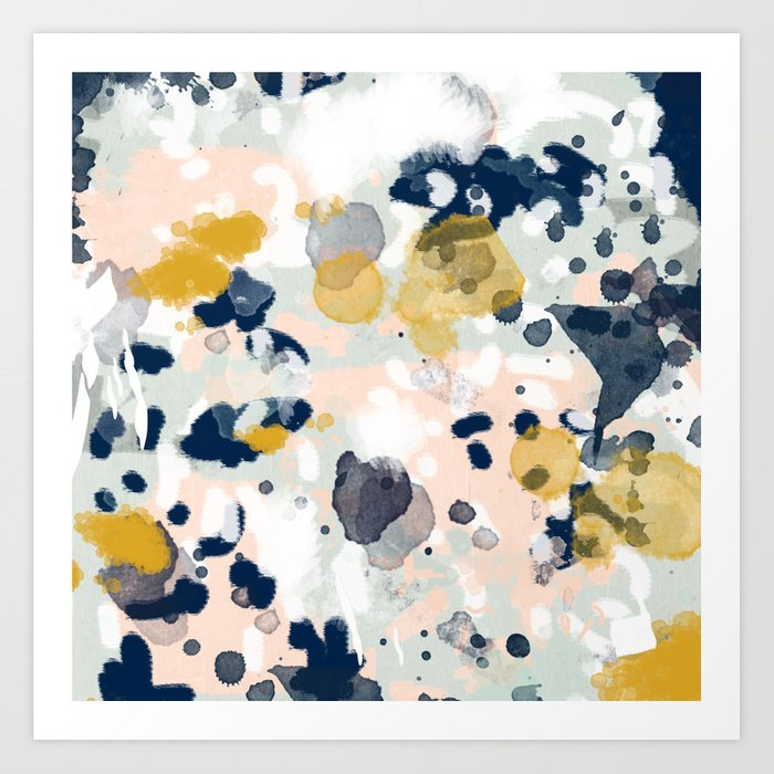 Esther - abstract minimal gold navy painting home decor minimalist hipster art Art Print