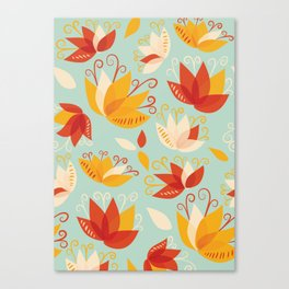 Whimsical Abstract Colorful Lily Flower Pattern Canvas Print