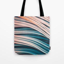Vintage White and Blue Abstract Strands Tote Bag
