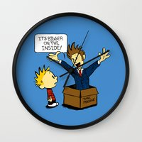 calvin and hobbes Wall Clocks featuring Calvin and the Doctor by sugarpoultry