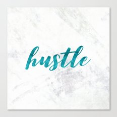 Hustle Text Marble Teal Blue Typography Quote Canvas Print