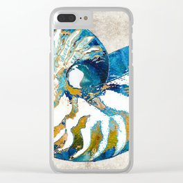 Beachy Art - Nautilus Shell Bleu - Sharon Cummings Clear iPhone Case