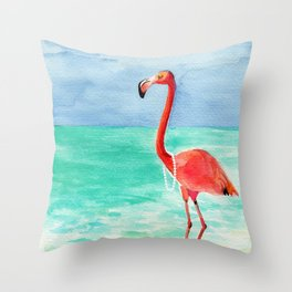 Shrimping in Pearls Throw Pillow