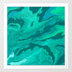 Teal, Turquoise, Light Blue, and Green Fluid Acrylic Abstract Painting 2 Art Print