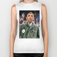 taxi driver Biker Tanks featuring Obama taxi driver by IvándelgadoART