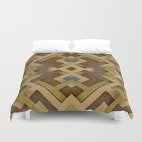 labyrinth Duvet Covers featuring Layered Labyrinth by Robin Curtiss