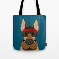 harley Tote Bags featuring Harley by Sarah Becker