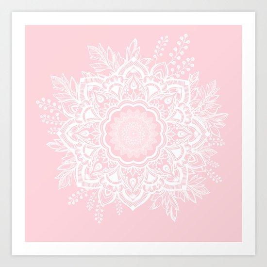 Mandala Bohemian Summer Blush Millennial Pink Floral illustration by sharonmau