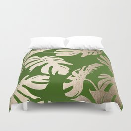 Palm Leaves White Gold Sands on Jungle Green Duvet Cover