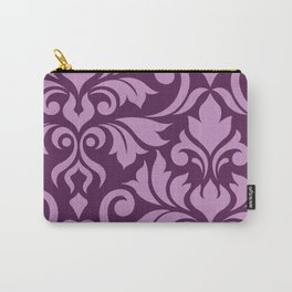 Flourish Damask Art I Pink on Plum Carry-All Pouch