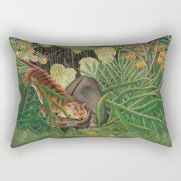 Fight between a Tiger and a Buffalo, Henri Rousseau, 1908 Rectangular Pillow