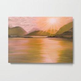 Sunset over Scottish loch Metal Print
