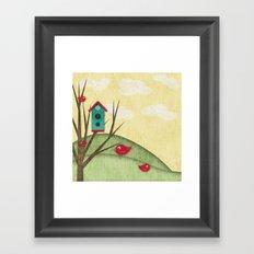 Shabby Sweet Tweet On The Hillside Framed Art Print