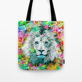 LION and Flowers Tote Bag