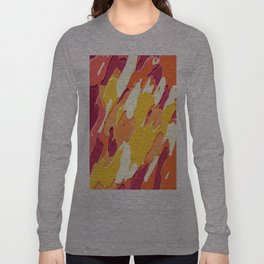 red pink yellow and orange camouflage graffiti painting background Long Sleeve T-shirt