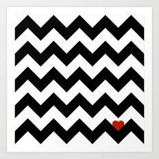 Heart & Chevron - Black/Classic Red Art Print