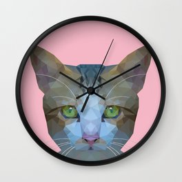 Low poly cat on pink background Wall Clock