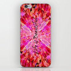 LIFE IS BEAUTIFUL Bold Pink Bird Feathers Ocean Waves Painting Sea Romantic Love Girlie Abstract iPhone & iPod Skin