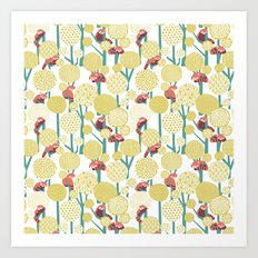 Red Panda Forest - Yellow Art Print