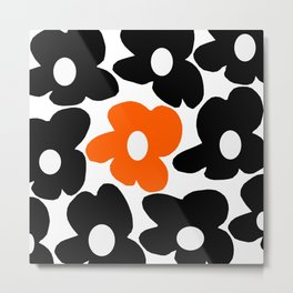 Large Orange and Black Retro Flowers White Background #decor #society6 #buyart Metal Print