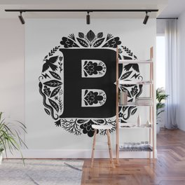 Letter B monogram wildwood Wall Mural