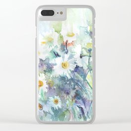 watercolor drawing - white daisies, beautiful bouquet, painting Clear iPhone Case