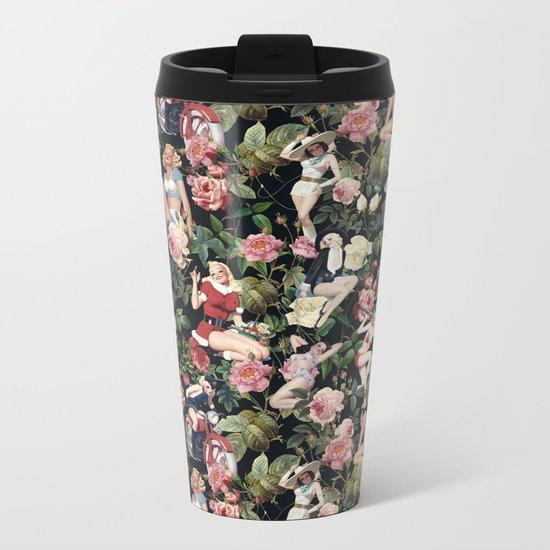 Floral and Pin Up Girls Pattern Metal Travel Mug