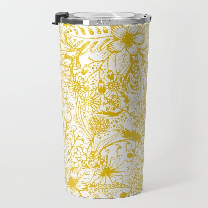 Yellow Floral Doodles Travel Mug