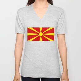 National flag of Macedonia - authentic version Unisex V-Neck
