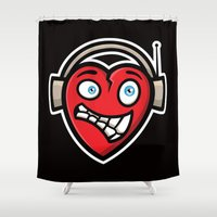 dj Shower Curtains featuring Heart DJ by Leon-Design