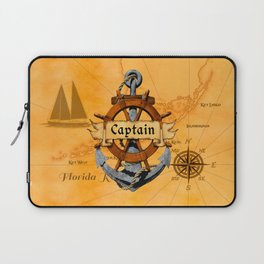 Captain Anchor And Ship Helm Laptop Sleeve