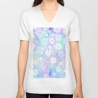 snowflake V-neck T-shirts featuring Snowflake by Arushi Puri