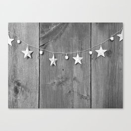 Stars on Wood (Black and White) Canvas Print