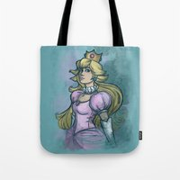 princess peach Tote Bags featuring Princess Peach by Karen Hallion Illustrations