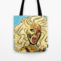rupaul Tote Bags featuring Zombie RuPaul by ComfortComfort