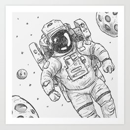 astro Traveller Retro Art Print