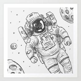 astro Traveller Retro Art Print